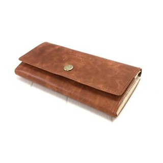 Leather wallet / flap / cowhide / long wallet