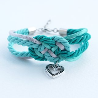 Mint/Green/Navy infinity knot rope bracelet with heart charm