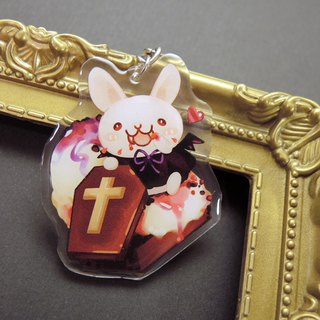 Acrylic Double Sided Charm - Halloween Rabbit - Coffin Board