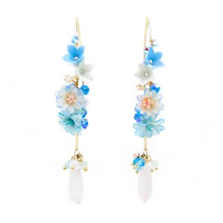 Pamycarie ZINNIA Aqua Gold-plated 925 Silver Floral Earrings