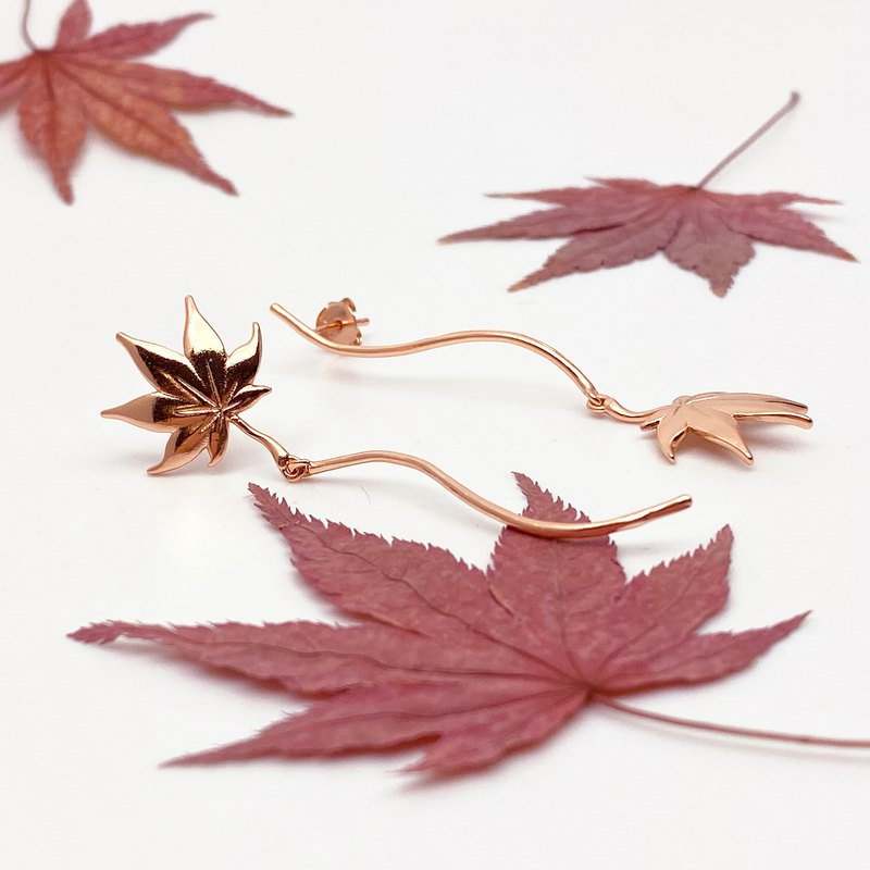 Autumn Japanese Maple Leaf Asymmetric 18K Rose Gold Earrings