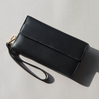MINIMAL 'HAPPY' SOFT COW LEATHER PURSE/LONG WALLET-BLACK