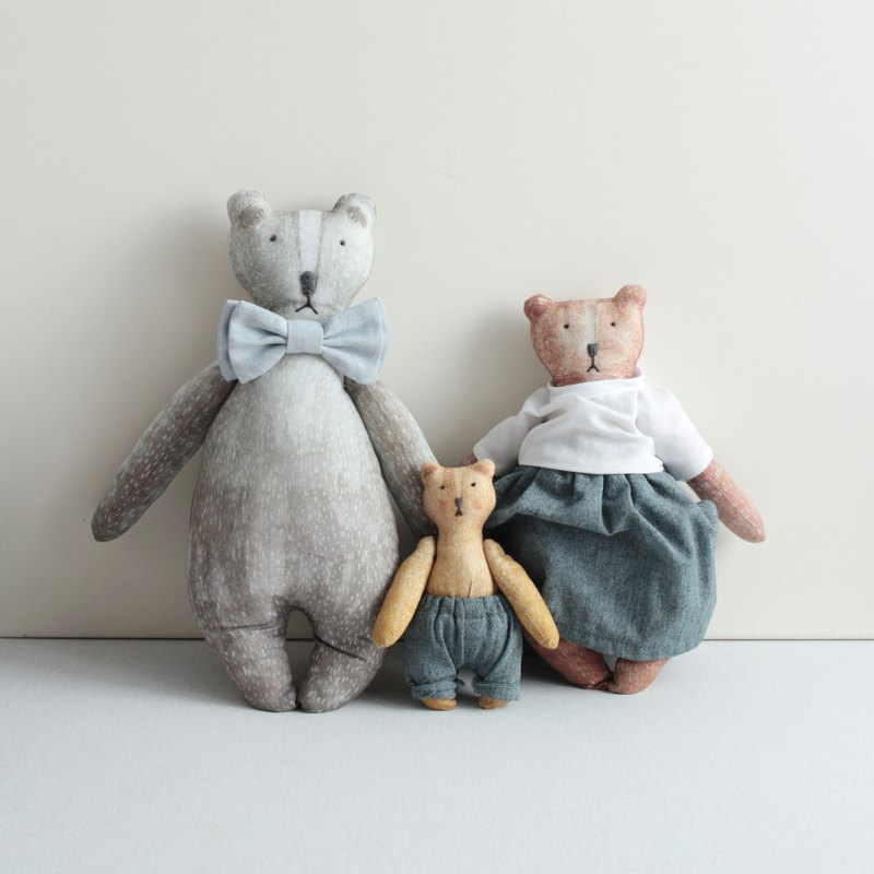 Bear doll hand made material package - family version