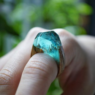 【手工訂製】紅橡木冷夜極光木戒 aurora with oak wood ring