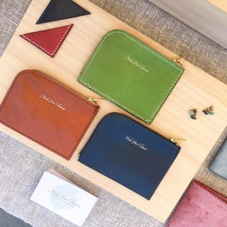 Make Your Choicesss handmade Italian leather L-shaped zipper wallet