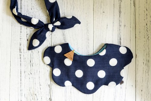 NAVY DOT BABY GIRL SET