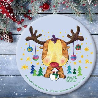 Painted Absorbent Ceramic Coasters – Christmas reindeer
