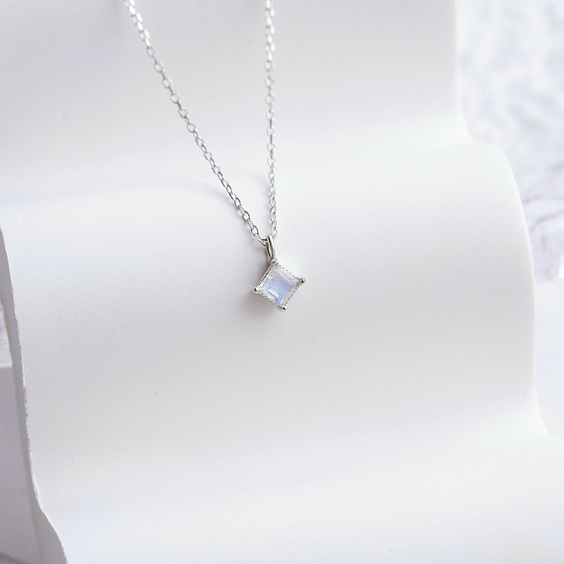 Moonstone 925 Sterling Silver Square Necklace