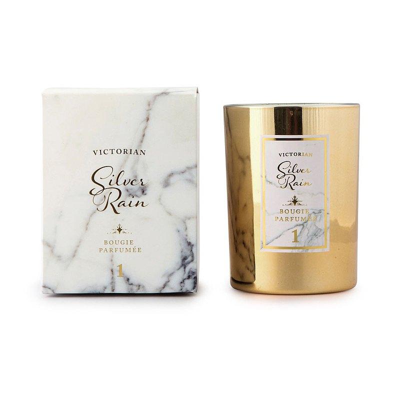 【瑞典VICTORIAN】大理石系列 Silver Rain 香氛蠟燭 綠葉與仙客來
