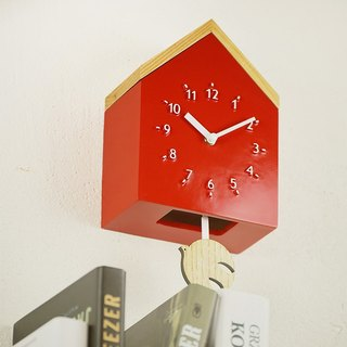 Rovine - Cabin Silent Swing Clock Wall Clock (Red)
