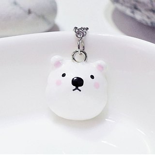 Fairy tale animal round doodle polar bear handmade cute necklace