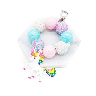 Blue X Pink Round Beaded Keychain / Bag Charm - Unicorn