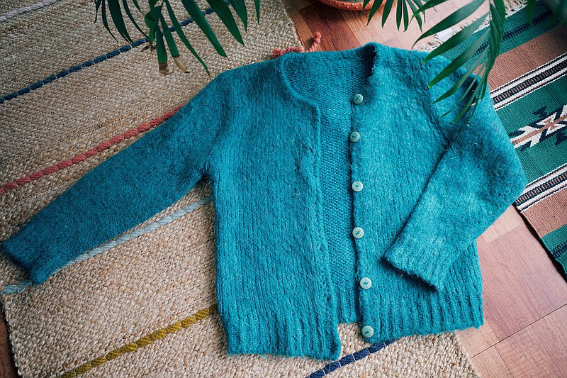 Vintage lake green wool knitted blouse jacket