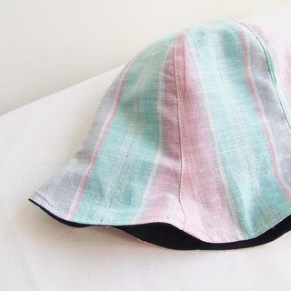 Pink and Green Stripe - Handmade Bucket Hat | Double sided