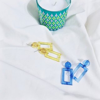 Marygo (blue and yellow transparent three-dimensional square) earrings
