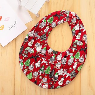 Christmas theme double-sided hand-made bib (red) / Miyuki gift birthday gift Christmas gift