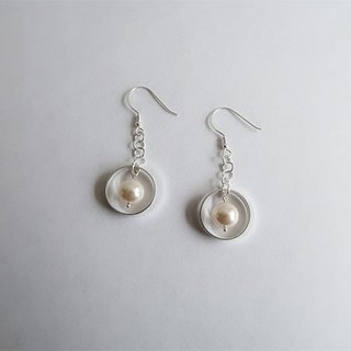 Circle Pearl/Drape-style/Pink/Earrings/Swarovski/Sterling Silver/By hand【ZHÀO】SZE1795