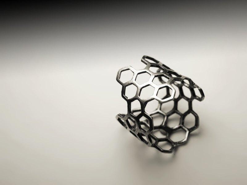 蜂巢銀戒指
