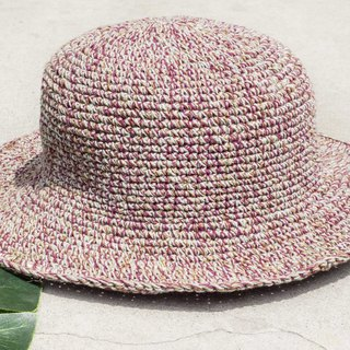 Hand-crocheted cotton and linen caps knit hat fisherman hat straw hat straw hat - original summer strawberry fruit