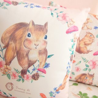 Forest squirrel Series / Standard Size / cute little squirrel wreath pillow even Pillow