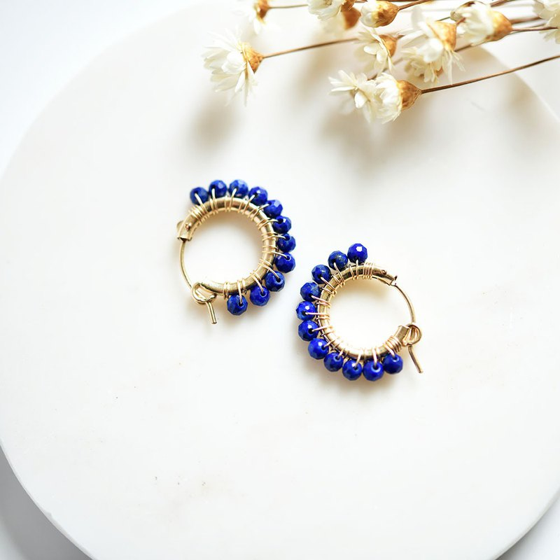 Original Lapis Lazuli Hoop Earrings Earrings Good Luck Success December Birthstone M