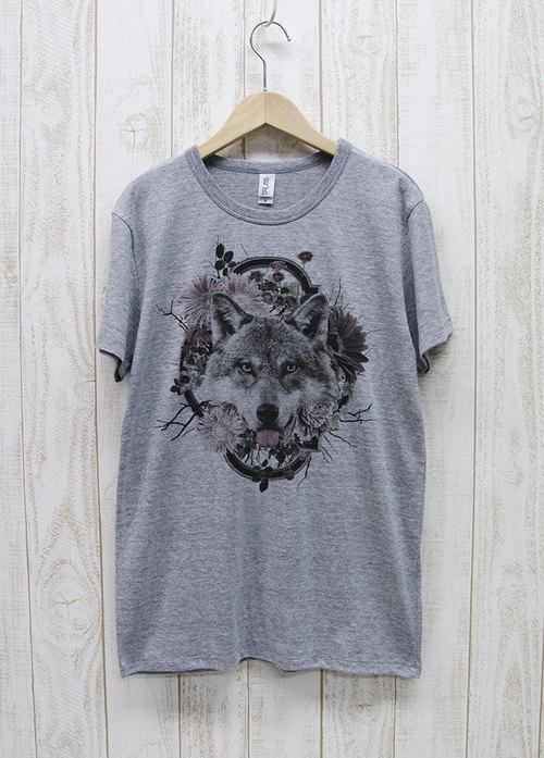 ronronWOLF Tee Flower Frame(ヘザーグレー) / RPT004-GR