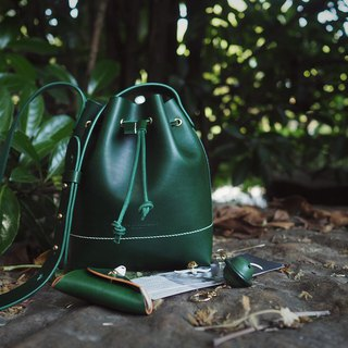 Dark green mini bucket bag retro literary shoulder slung handmade leather design customization
