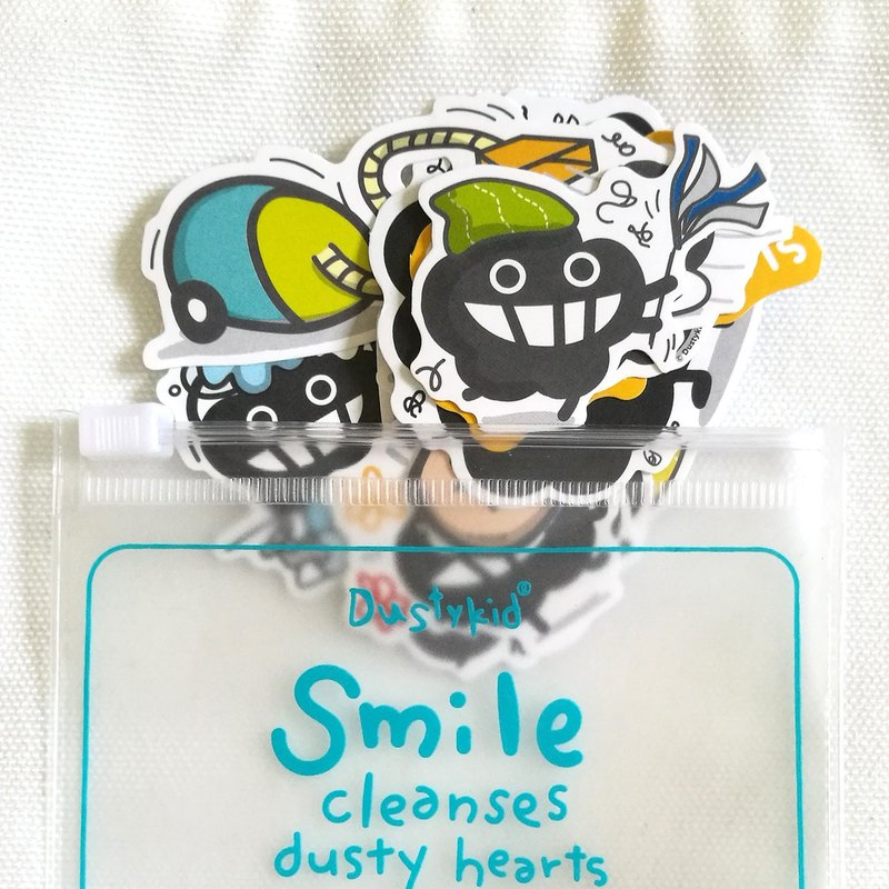 Dustykid bagged dust sticker set - Smile cleanses dusty hearts