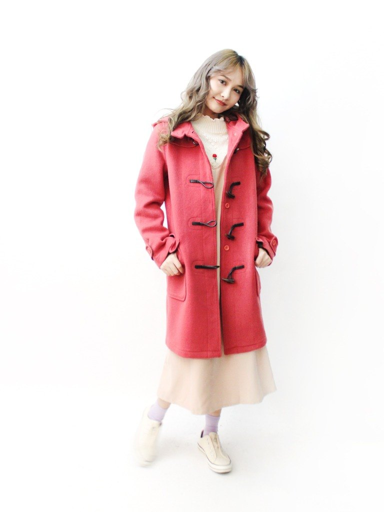 [RE1115C421] autumn and winter South Korea Institute of the Department of pattern pink Hooded wool vintage coat button coat
