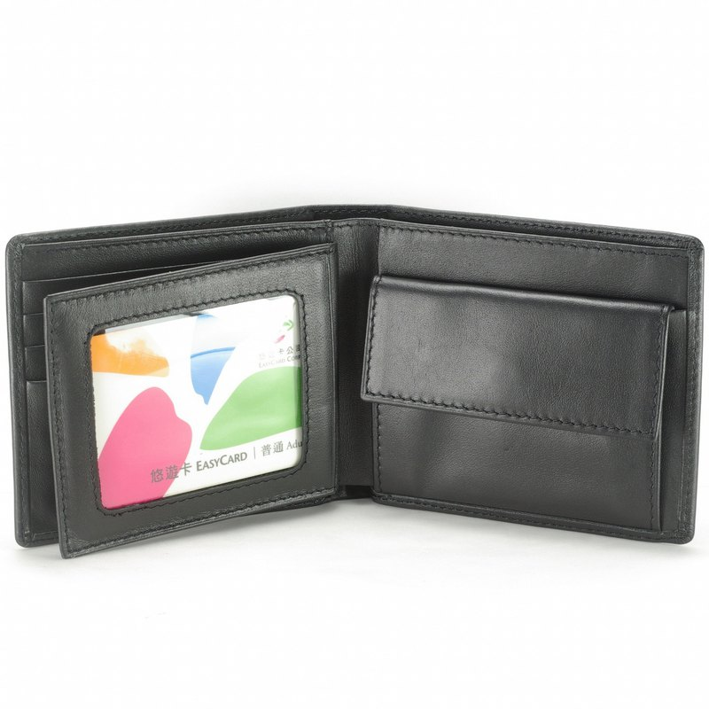 Collection men's short clip leather wallet 7 card photo coin bag black pay guest lettering service