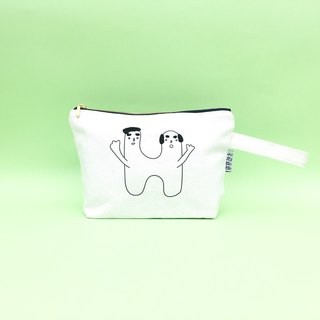 H | bald head embroidery cosmetic bag
