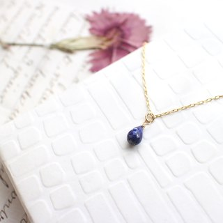 Blue rain-Lapis brass necklace