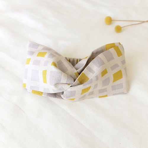 Natural wind wide hair band jump lattice light gray yellow linen