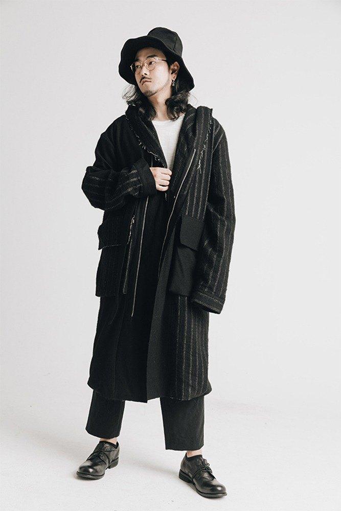 兩色羊毛拼接條紋帶帽綁帶風衣袍子