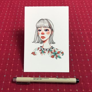 Postcard red nose girl wearing leaves suit