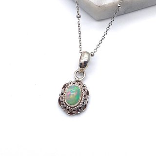 Opal necklace in Sterling Silver made in Nepal by hand
