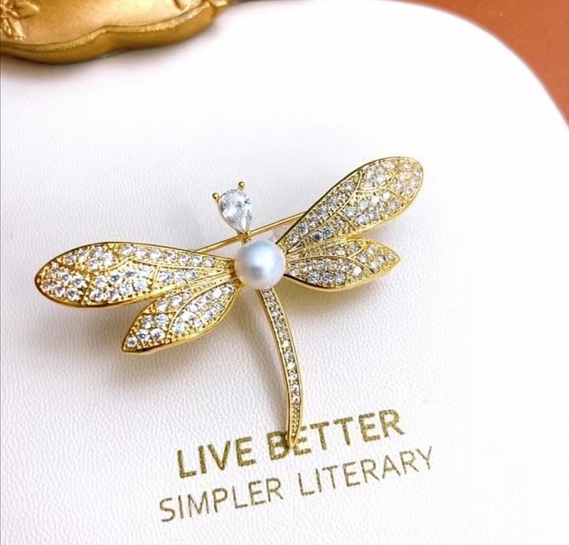 Dragonfly~natural freshwater pearl inlaid zircon alloy brooch