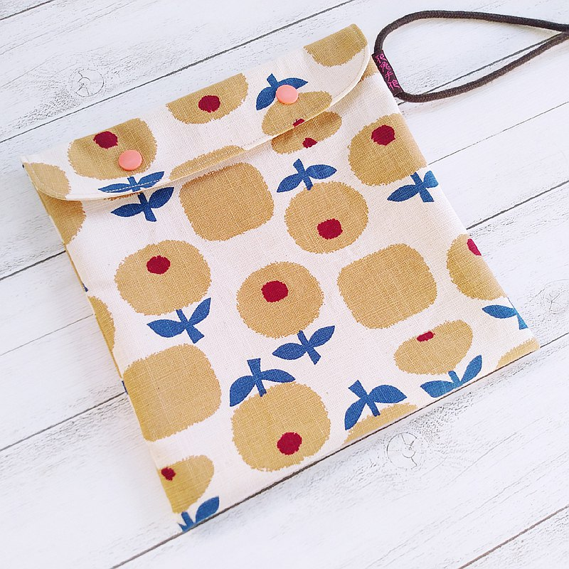 Two styles of eco-friendly food bags with Nordic flower handle, Japanese cotton and linen bag cover and rope version