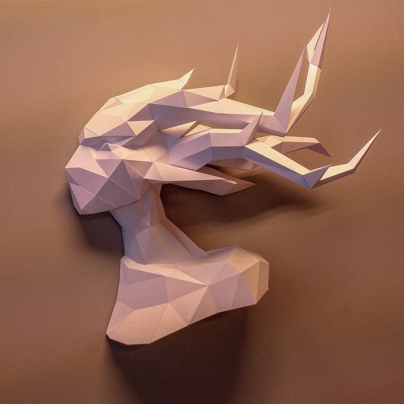 正版匠紙_DIY 材料_紙模型_禮物_手作_風吹樹精側面頭壁飾
