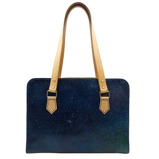 Simple shoulder briefcase, side backpack, shoulder bag, starry sky, hand-painted, dyed, customizable