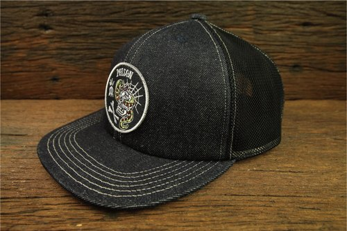 """POISON"" Denim Trucker Cap ""POISON"" retro single truck driver cap Ningka"
