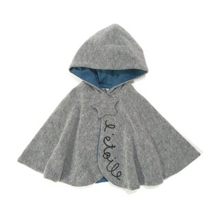 Star motif baby cape Gray X blue-green