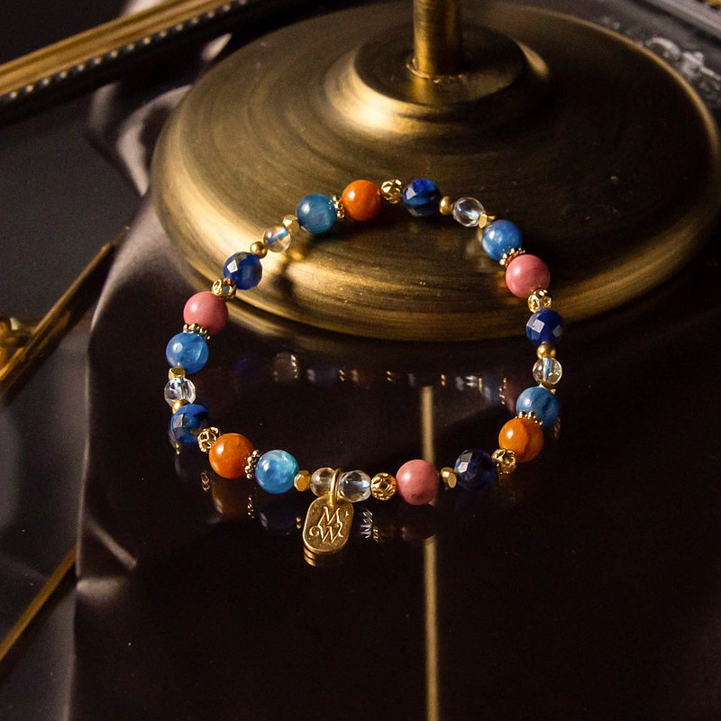 <Slow and warm natural stone series>C1185 Blue crystal red stone bracelet