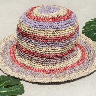 Hand-knitted cotton and linen cap knit hat fisherman hat sun hat straw hat - South America striped strawberry taro