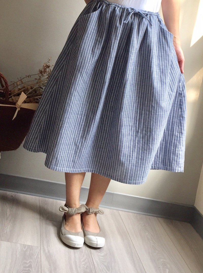 # Hillless Windy Blue and White Striped Drawstring Skirt 100% Double Layer Cotton Yarn