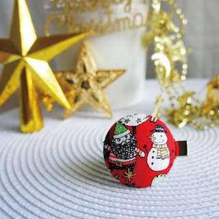 Lovely [Japanese cloth] Santa Claus and snowman buckle hair clips, scarf scarf folder, red bottom