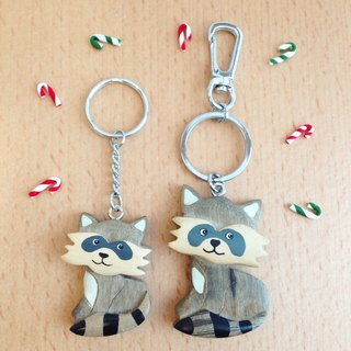 [Handmade wooden x animal series] * greedy little raccoon key ring / strap