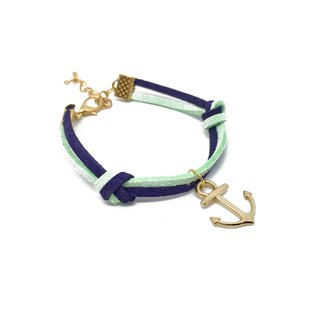 Handmade Simple Stylish Anchor Bracelets Rose Gold Series–mint green and blue li