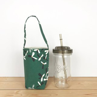 Dark green flower drink bag 720ml wide mouth mason cup with cup lid straw