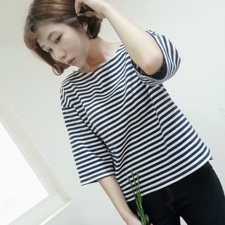 Invisible Shadow Striped Top | 50% Organic Cotton | Loose Front Short Back Long Open Stripe